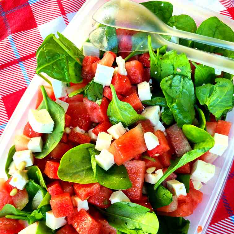 Refreshing Watermelon Salad with Spinach a