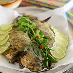 Whole roasted fish with Coconut Sauce