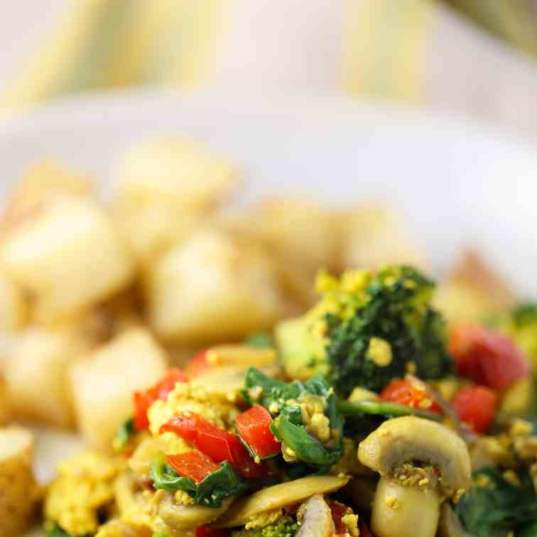 Tofu Scramble with Veggies and Roasted Pot