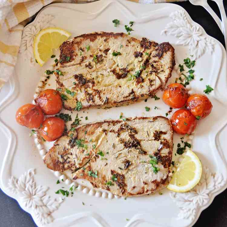 Seared Tuna Steaks with Mustard - Thyme