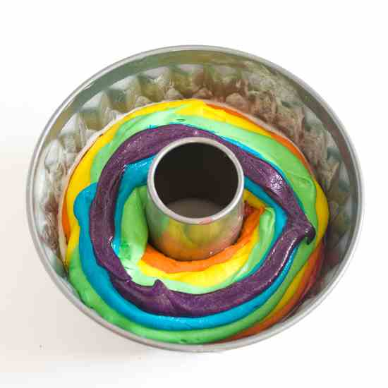 gluten-free rainbow birthday bundt