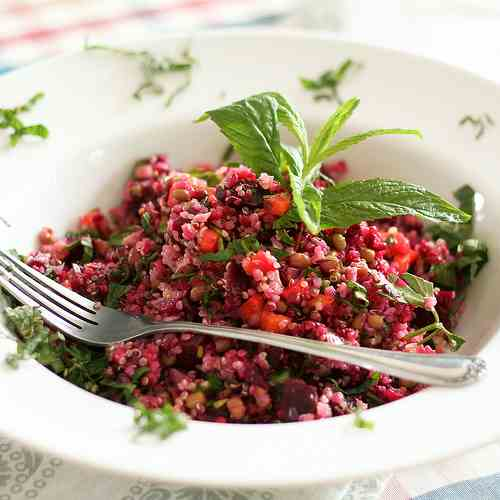 Mung beans, Beets and Quinoa Salad