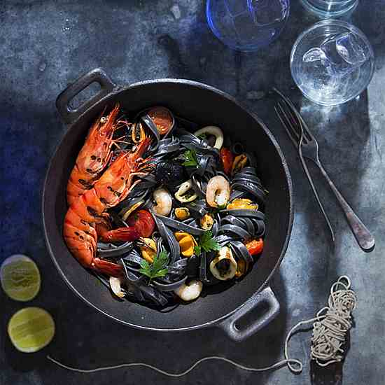 Black linguine with seafood