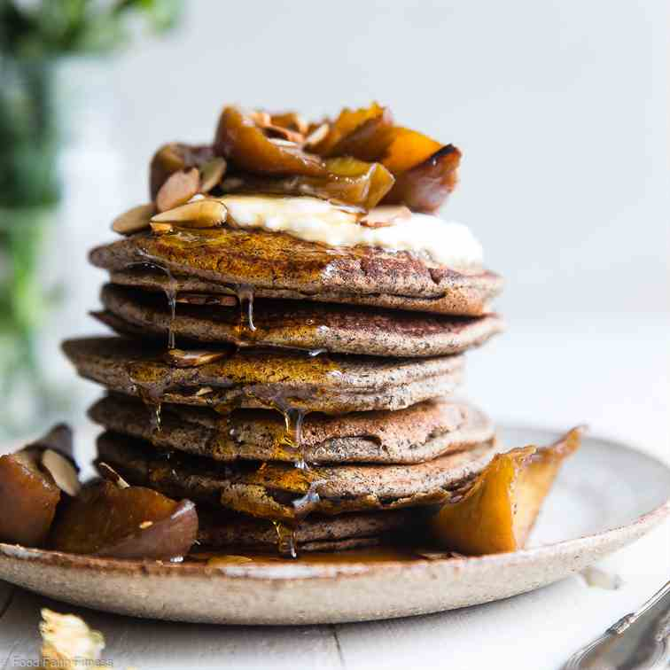 Buckwheat  Pancakes  with  Peaches