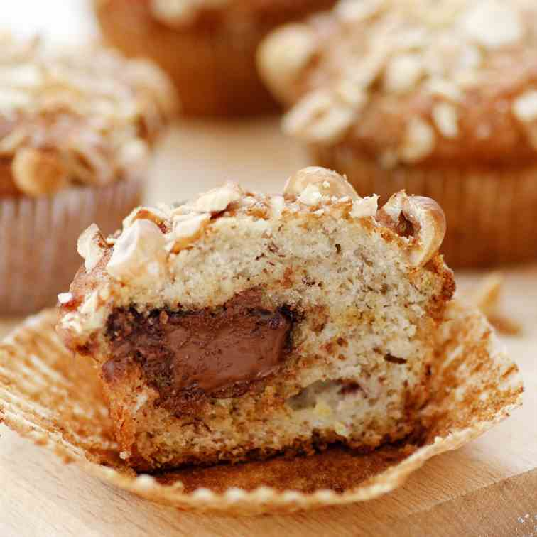 Nutella Filled Banana Muffins