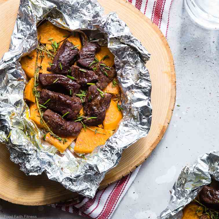 Garlic  Steak  -  Potato  Foil  Packets