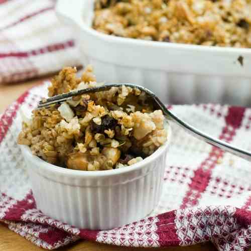 Dried Prunes and Chestnut Bulgur Stuffing