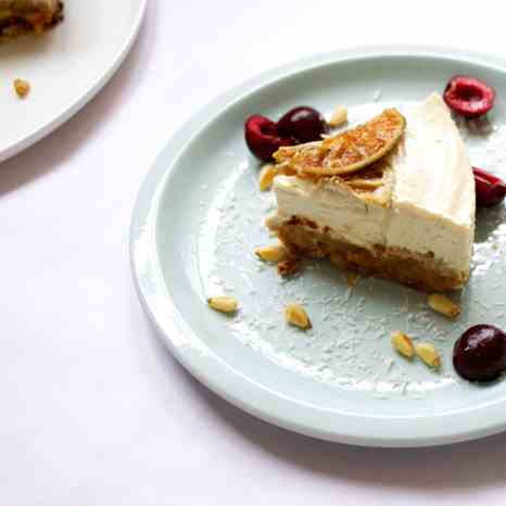 Coconut - lime half-baked cheesecake