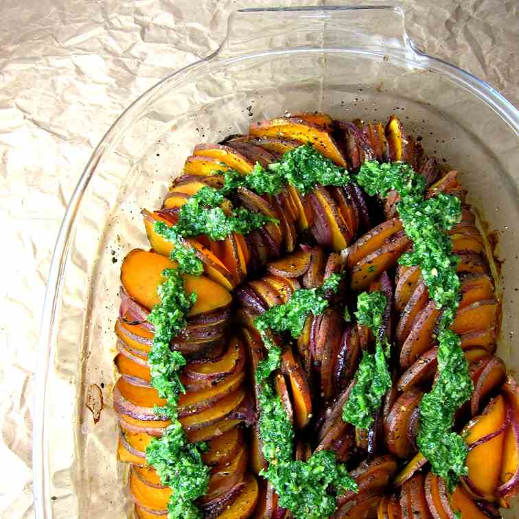 Crispy Sweet Potato Roast with Salsa Verde