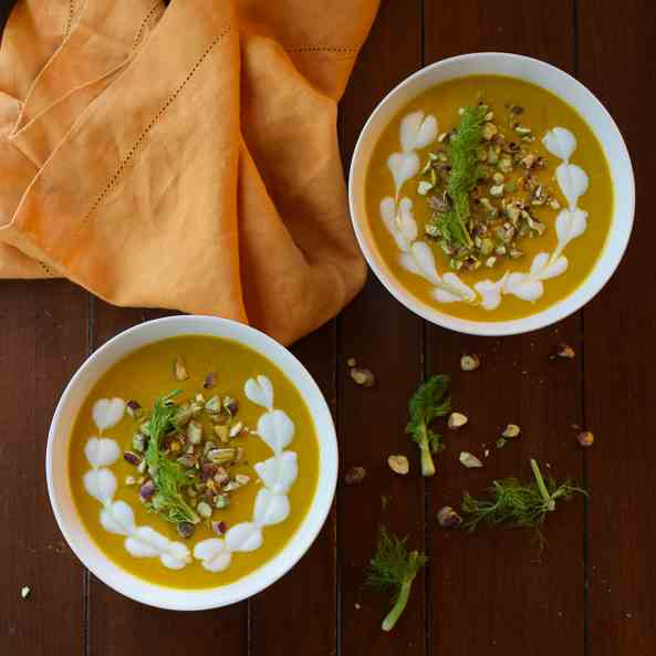 Carrot Fennel Soup with Pistachios