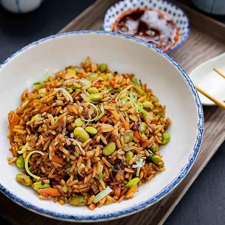 Mushrooms and edamame fried rice