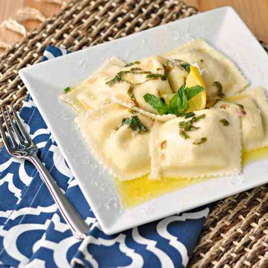 Cheese Ravioli with a Lemon Basil Butter S