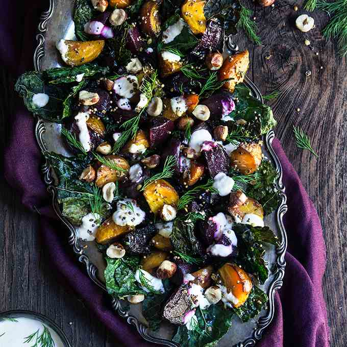 Roasted beets and kale salad with horserad