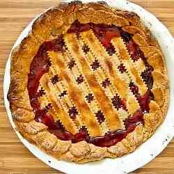 Cherry Rhubarb Lattice Pie
