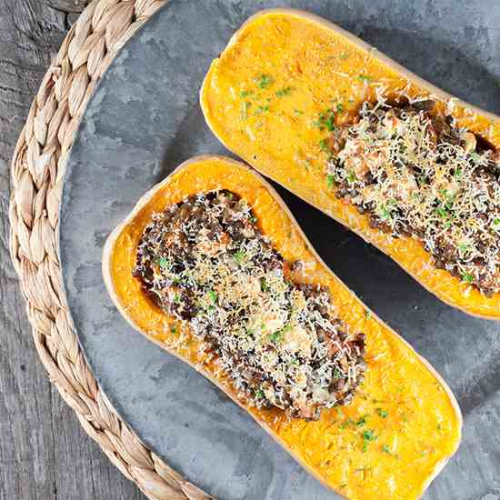 Roasted butternut squash filled with lenti