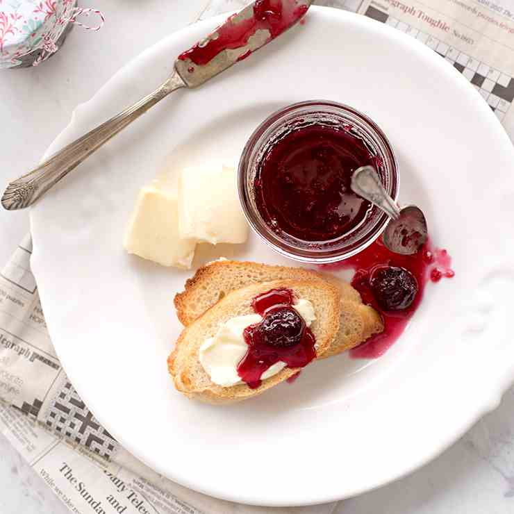 Sweet Cherry Jam with Merlot Wine