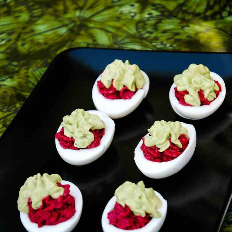 The Red Avocado Devilled Eggs-