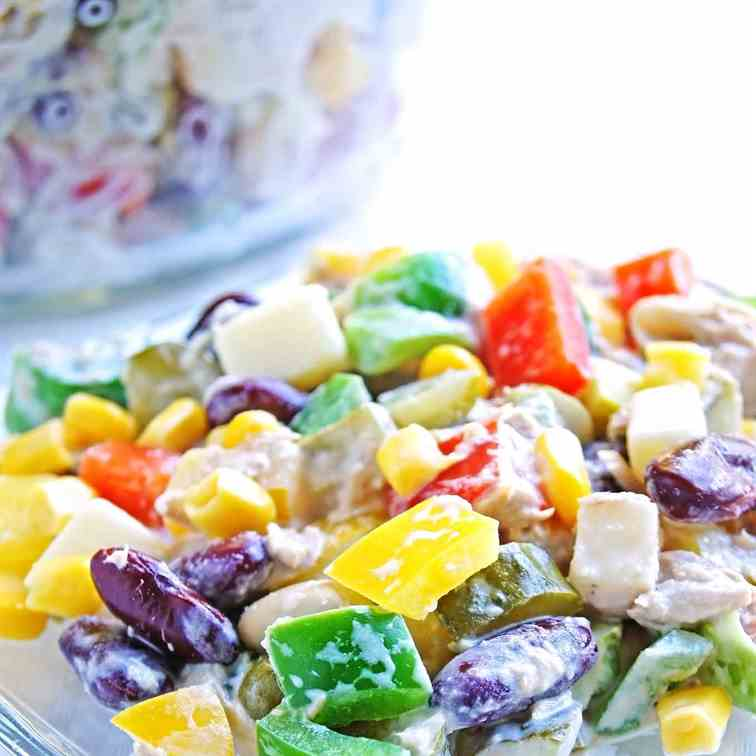 Beans, Tuna, Dills and Bell Pepper Salad