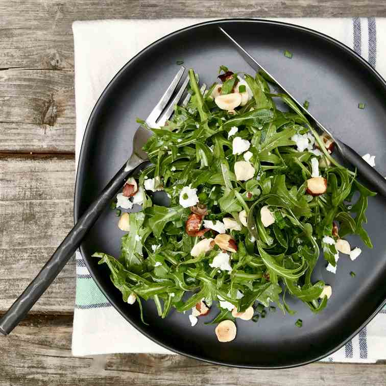 Arugula With Goat Cheese And Hazelnuts