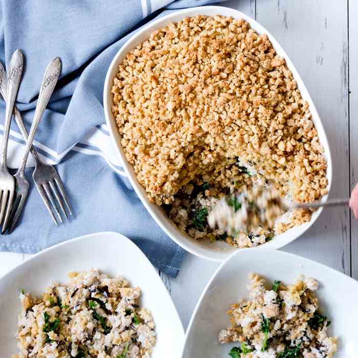 Chickpea, Kale, and Wild Rice Casserole