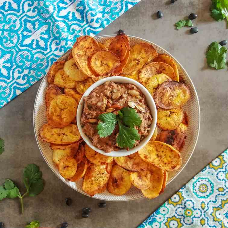Spicy Black Bean Dip with Plantain Chips
