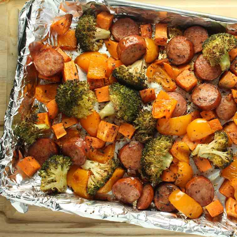 Sheet Pan Sausage Veggies