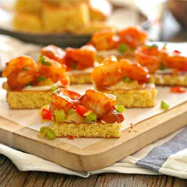 Shrimp and Cornbread Bruschetta