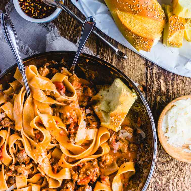 Sweet Italian Sausage Pasta In Cream Sauce