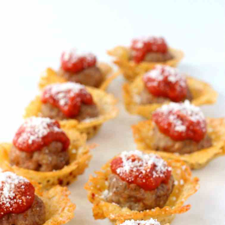 Cheese Crisp Meatball Shooter