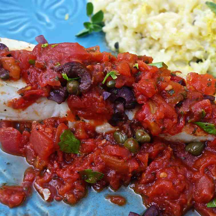 Halibut with Homemade Tomato Sauce