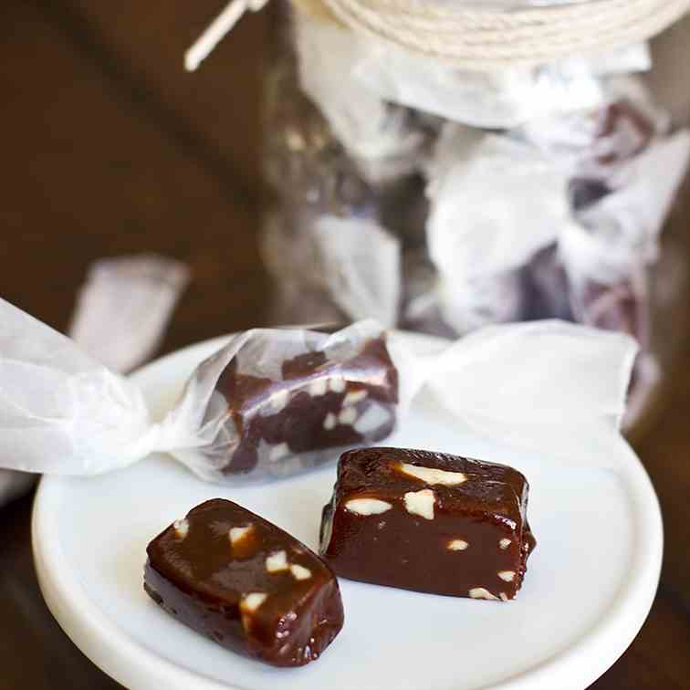Toasted Almond Chocolate Caramels