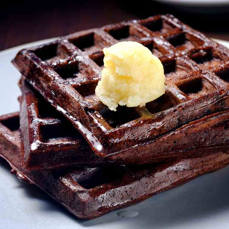 Dark Chocolate Waffles with Coconut-Maple