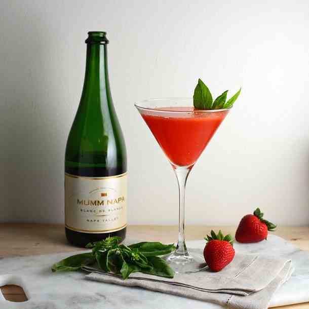 Strawberry Basil Champagne Cocktail