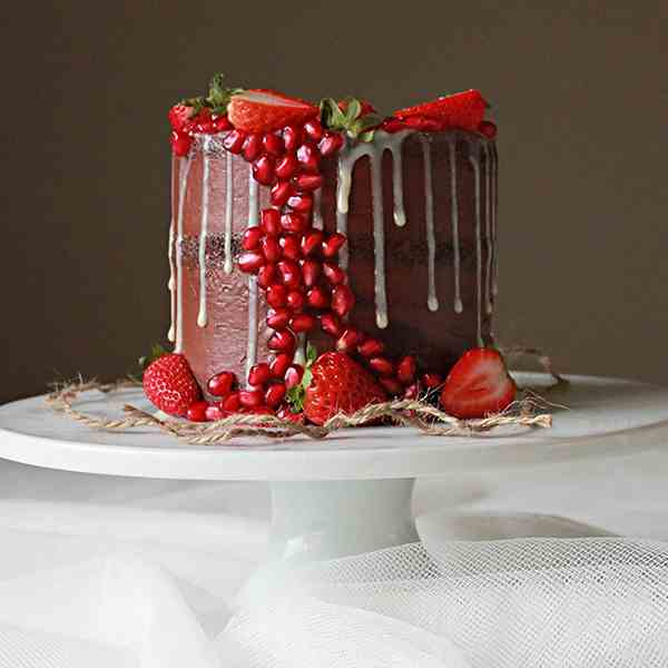 Strawberry pomegranate chocolate cake