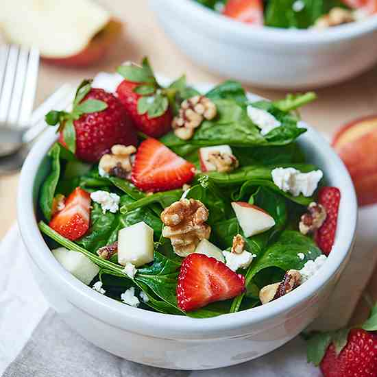 Honey Goat Cheese Strawberry Spinach Salad