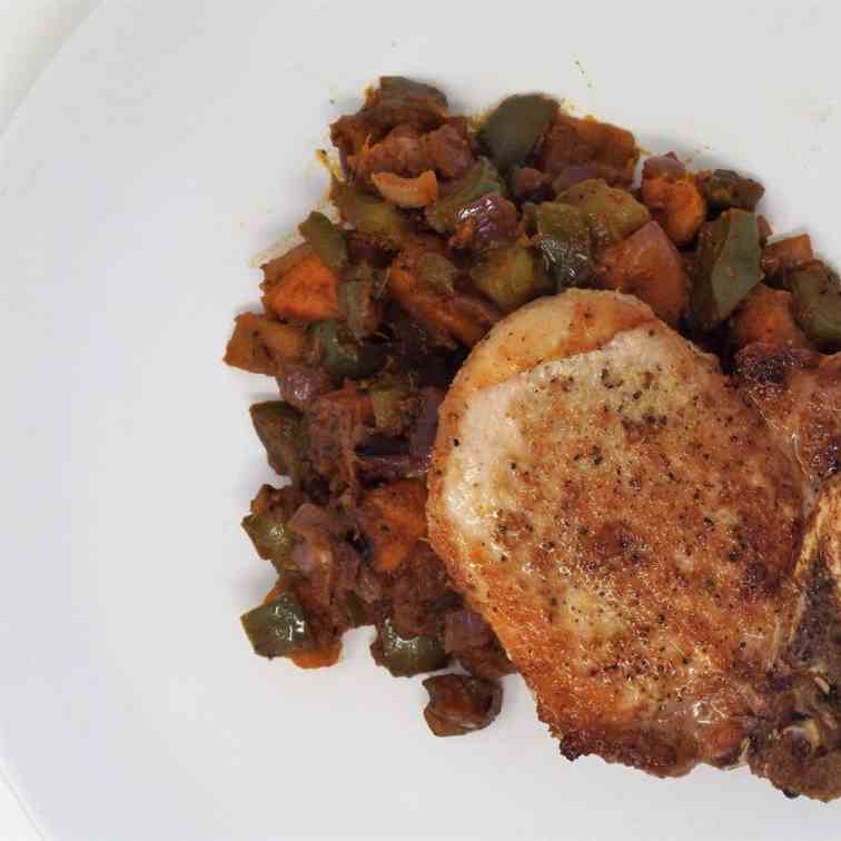 Pork Chops and Sweet Potato Hash