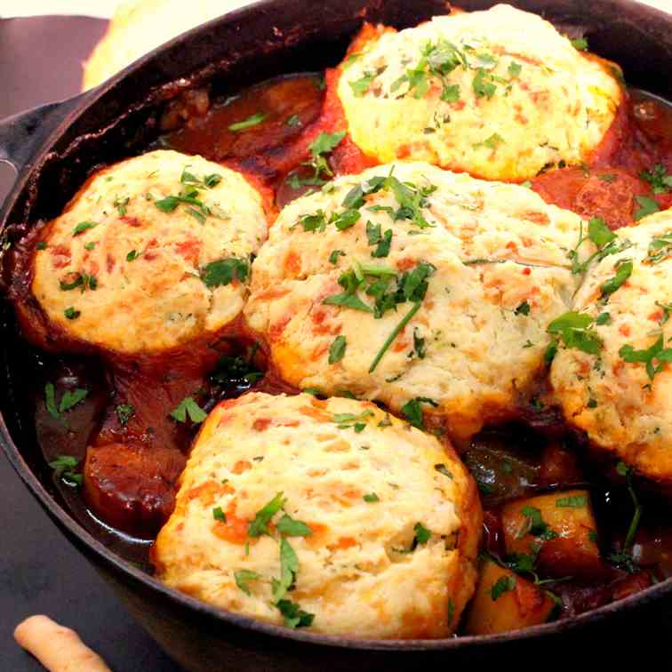Irish Stew with Cheese bread roll topping