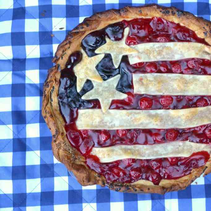 Cherry Blueberry Stars and Stripes Pie