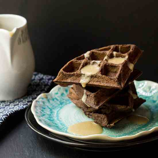 Chocolate Waffles w-Whiskey Butter Sauce