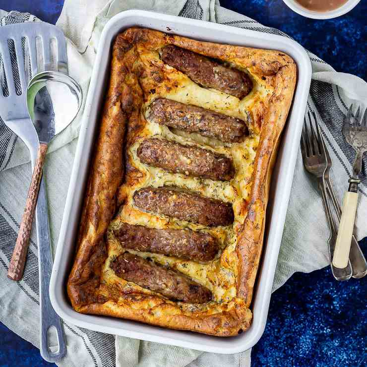Vegetarian Toad in the Hole with Red Onion
