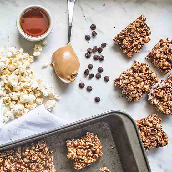 Chocolate Peanut Butter Popcorn Bars
