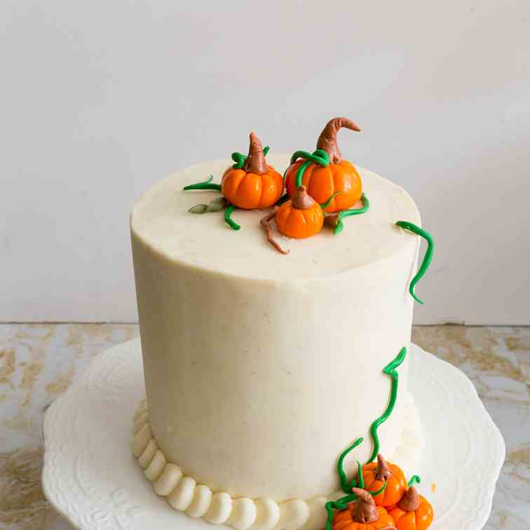 Pumpkin Spice Cake with Cream Cheese Frost