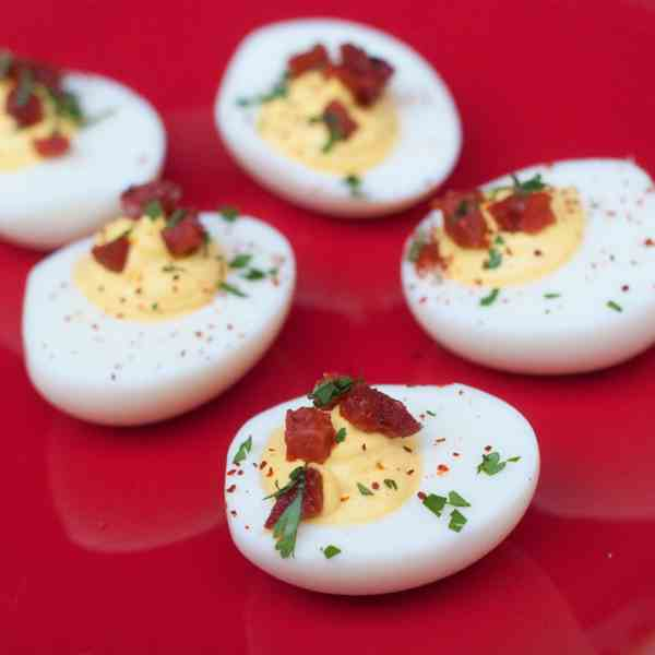 Devilled eggs with chorizo