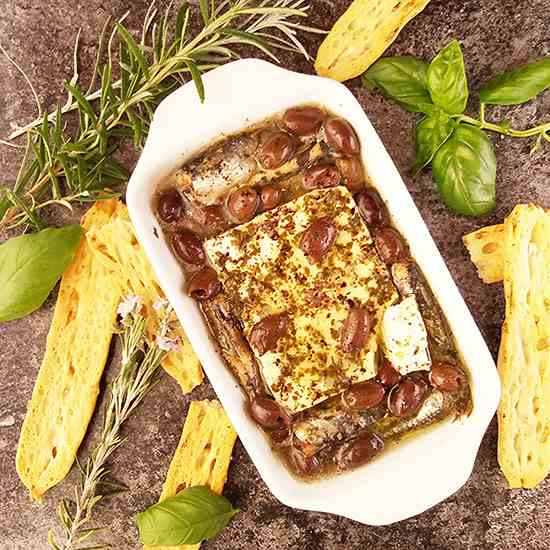 Baked Feta Cheese with Canned Sardines and
