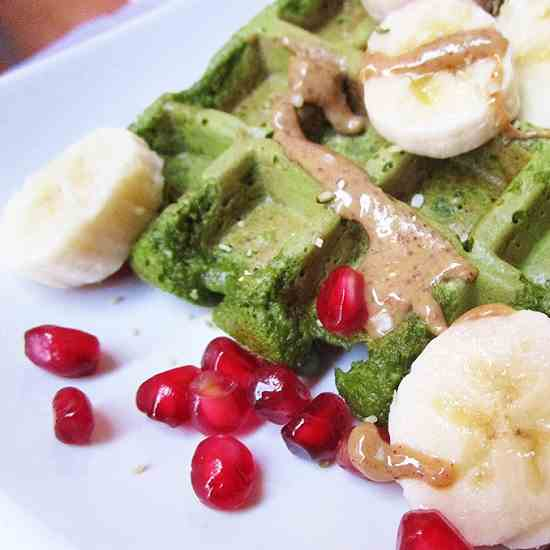 Green Spinach Oat Waffles