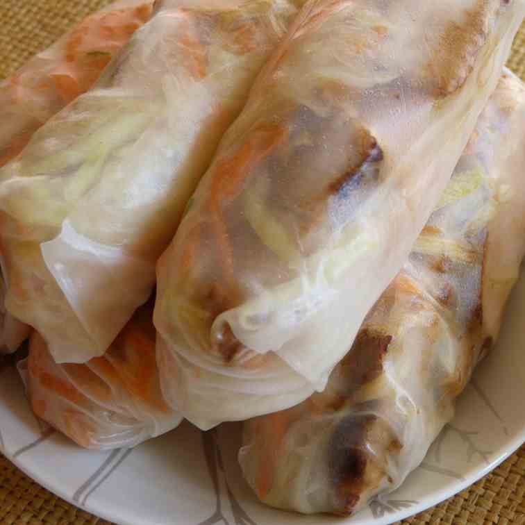 Asian Pork and Papaya Spring Rolls.