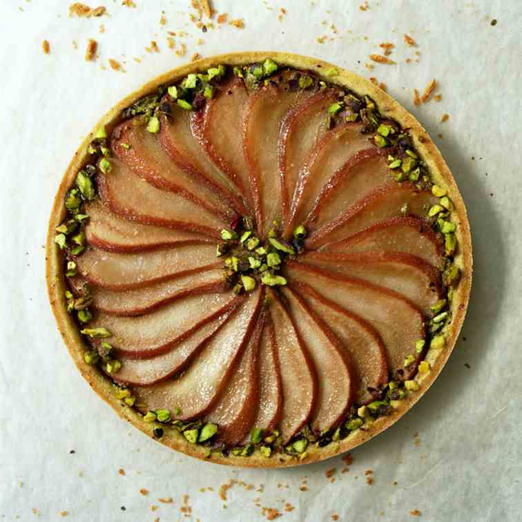Pistachio Tart with Poached Pears