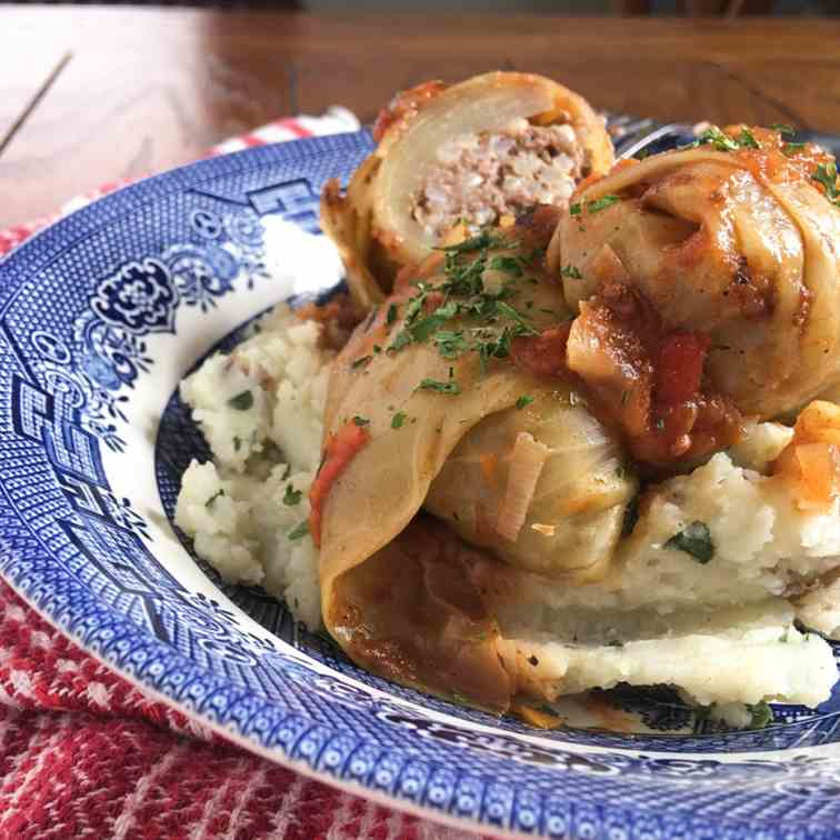 Beefy Cabbage Rolls in a Tomato Sauce