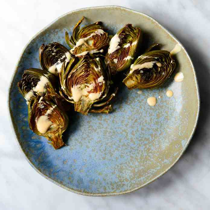 Roasted Baby Artichokes Curried Yogurt