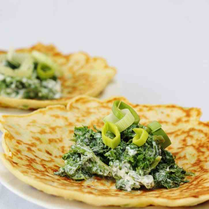 Leek pancakes with spinach kale and ricott
